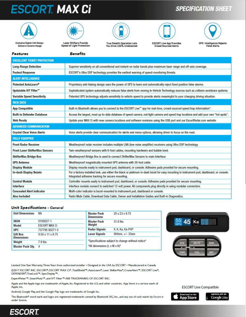 Escort MAX ci radar detector specs